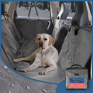 ROTANET Dog Car Seat Cover Pet Hammock Back Seat Cover Durable Waterproof Adjustable Heavy Duty Visual Mesh Window Zip Storage Pocket Side Flap Universal Car SUV Truck Grey