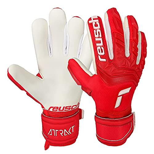 Reusch Guanti da portiere unisex Attrakt Freegel Silver Junior con vestibilità ottimizzata rosso/bianco, 7,5