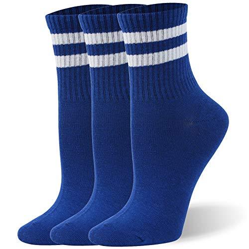Boys Cotton Socks, WXXM Old School Classic Stripe Quarter Socks Cycling Socks Short Blue with White Stripes 3 Pairs Size Medium Back to School Supplies Set Yoga Socks