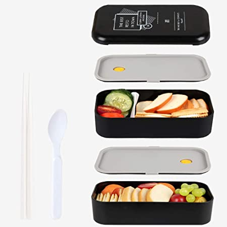 MEIXI Boîte Bento Enfant & Adulte  Bento Box Lunch Box   2 Couverts Solides   1100ml   Hermétique   Passe Au Micro-Ondes Et Au Lave-Vaisselle   Support de téléphone Portable (Noir)