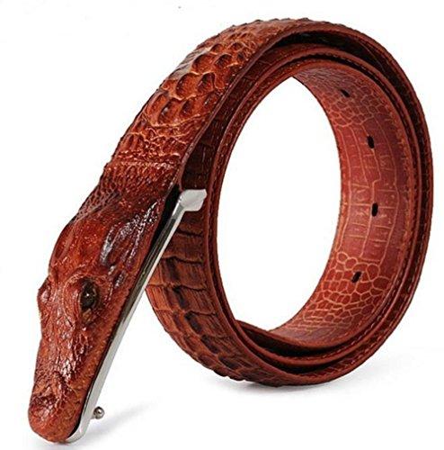 Silverzone Herren-Gürtel, Krokodilleder, Krokodil-Schnalle, 3,5 cm breit - Rot - Einheitsgröße