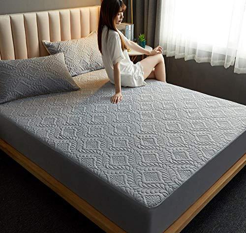 XLMHZP Colchón de Cama, Almohadilla Suave y Gruesa, Protector de colchón Impermeable Acolchado, Cubierta de Estilo de sábana Ajustable para Cama Comfort-K_120x200cm+30cm