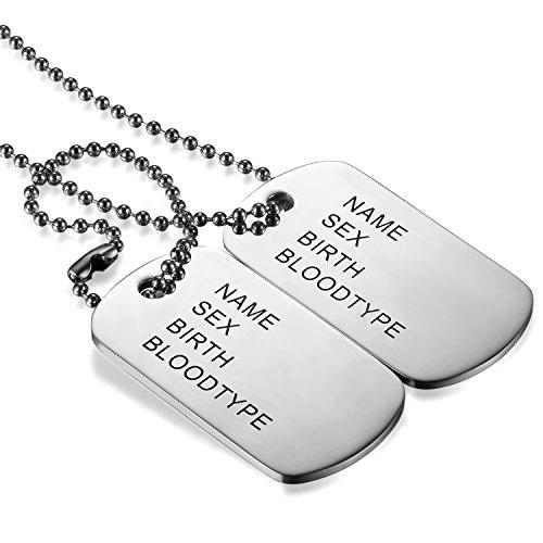 JewelryWe Bijoux Pendentif Collier Homme Gravure Personnalisation Offerte Double Plaque Militaire Dog Tag Acier Inoxydable Fantaisie