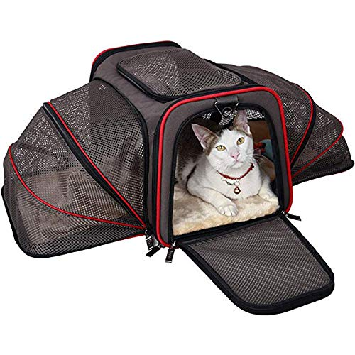 YUEBAOBEI Pet Carrier for Dogs & Cats -Two Side Expansion,Portable Soft-Sided Air Travel Bag,Best for Small Or Medium Dog and Cat