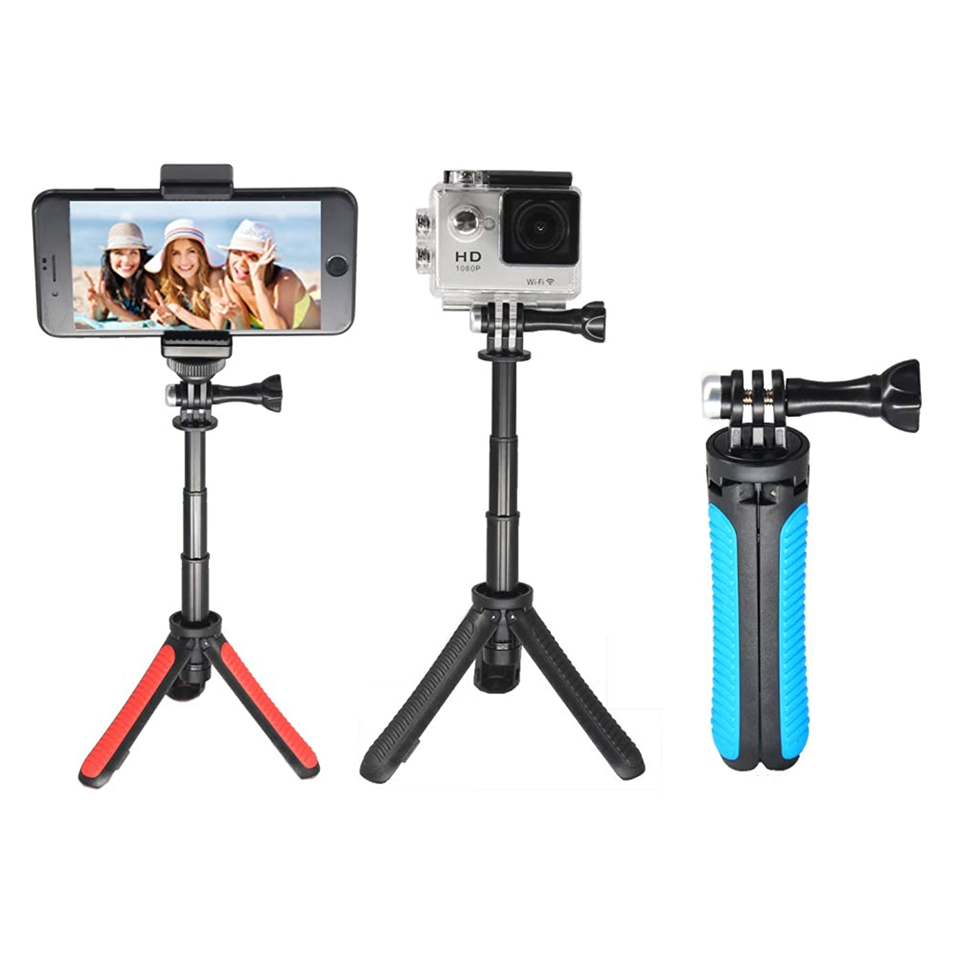 OCTO MOUNTS | Lightweight Mini Telescopic Extension Pole with Tripod or Hand-Held Monopod for Smartphone or GoPro. iPhone, Samsung Galaxy, Android, DSLR, Point and Shoot Camera (Red)