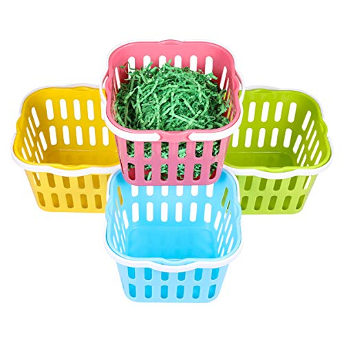 PRETYZOOM 4pcs Easter Egg Basket Plastic Easter Bag Bucket with 50g Easter Grass For Easter Egg Hunts Toys Candy Gifts Basket
