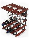 Estante para vino colgante, estante para copa de vino Estante para vino de madera sólida, vino tinto de pie 6 botellas 6 estante de almacenamiento Adornos colgantes RestauranteRack (Color: A)