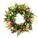 TianBao Artificial Door Wreath Green Leaf Wreath, Wreaths For Front Door, Spring Summer Outdoor Ornaments for Home Bedroom Wall Party and Festival Celebration Decor