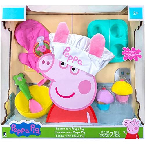 Peppa Pig Cooking with Peppa Roleplay Set, Includes Chef's Hat, Glove / Oven Mitt, Spoon, Muffin Pan / Cupcake Tray, 2 Muffins / Cupcakes, Bowl - Cook and Bake with Peppa!
