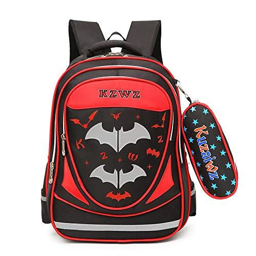 RLJqwad Mochilas Escolares De Superhéroe Bolso Infantil con Impresión Digital 3D Bolso Batman De 6-12 Años Red