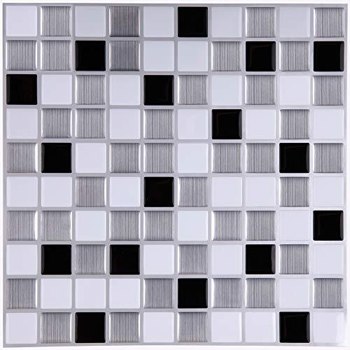 Adhesivos Para Azulejos Pegatina de pared, Azulejos de gel, diseño de mosaico, efecto 3d, autoadhesivo, Para cuarto de baño y cocina, 25.4cm*25.4cm, 6 piezas por paquete