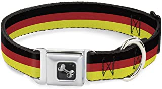 Dog Collar Seatbelt Buckle Stripes Black Red Yellow 13 to 18 Inches 1.5 Inch Wide