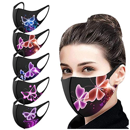 Pack of 5,Ice Silk Cotton Unisex Reusable Face Protection Washable Facial Skin Mouth Nose Shield Anti Smoke Pollution Bike Motorcycle Sport-3D Butterfly Fine Christmas Halloween Print