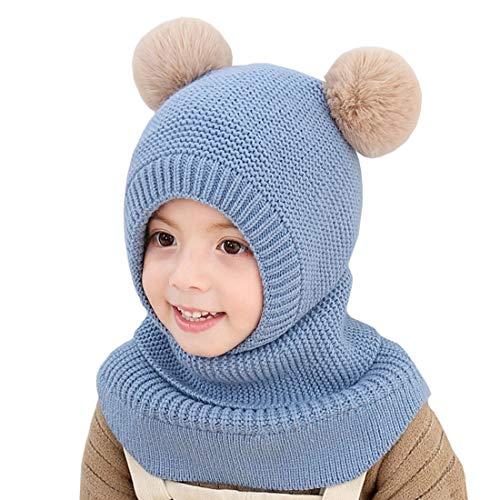YONKOUNY Kinder Mädchen Wintermütze Warm Niedlich Schlupfmütze mit Bommel Beanie Strickmütze Schalmütze Fleece Mütze (Blau)