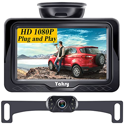 Backup Camera for Car HD 1080P with Monitor One Wire DIY Kit 6 LED Night Vision Rear View Camera for Cars Trucks SUVs Campers IP69 Waterproof 12V-24V Long Term Performance Yakry Y11