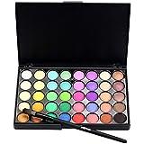 Exteren 40 Colors Natural Eye Shadow Makeup Cosmetic Pearl Metallic Smoky Eyeshadow Palette+Brush Set (B)