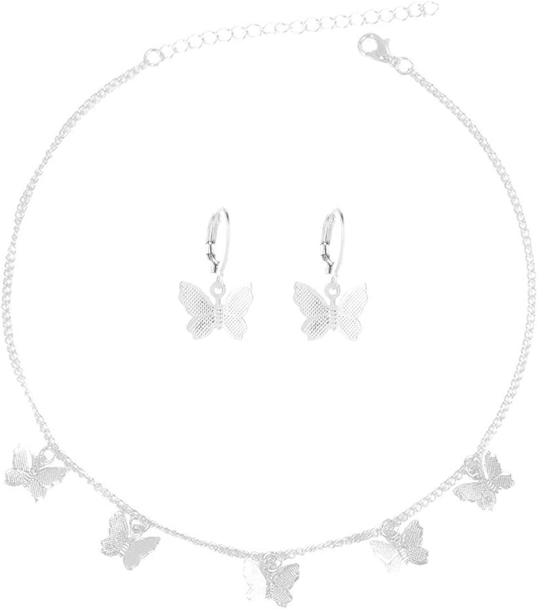 2-4 Pcs Butterfly Necklace Earrings Set Adjustable Butterfly Star Pearl Chain Necklace Charm Hoop Earrings Jewelry for Women Girls
