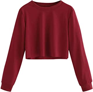 Aniywn Women Casual Crew Neck Long Sleeve Solid Lightweight Sweater Top Ladies Short Pullover Hooded