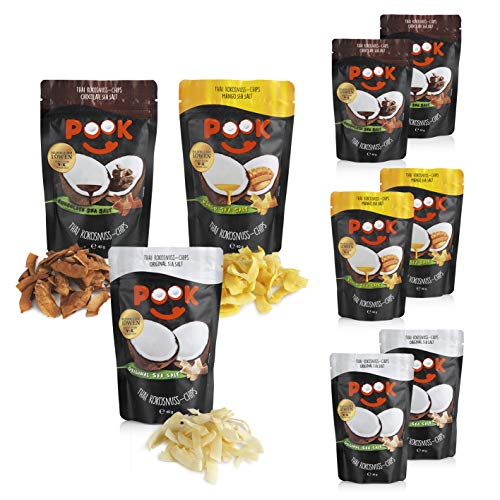 POOK Kokosnuss-Chips Try me 9er-Set (9 x 40 g), Chocolate, Mango, Original, vegan | geröstete Kokosnuss-Streifen mit Meersalz und Kakao | thailändischer Snack aus Kokosnussfleisch