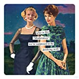 Anne Taintor Square Refrigerator Magnet - Who Is This'Moderation' We're Supposed To Be Drinking With?