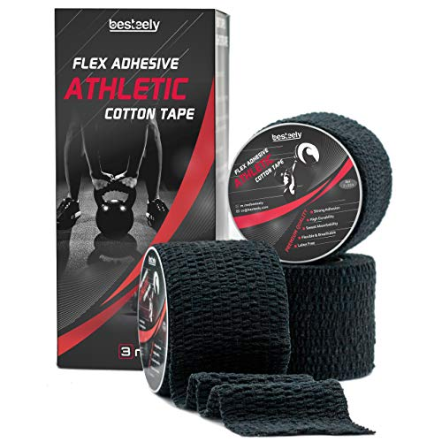 """Besteely Weightlifting Hook Grip Tape – 2"""" x22.5ft Crossfit Tape – Strong Adhesive Thumb Tape - Athletic Sports Tape - Stretchy Sticky Athletic Grip Tape - Tape for Athlete & Trainers, Black"""