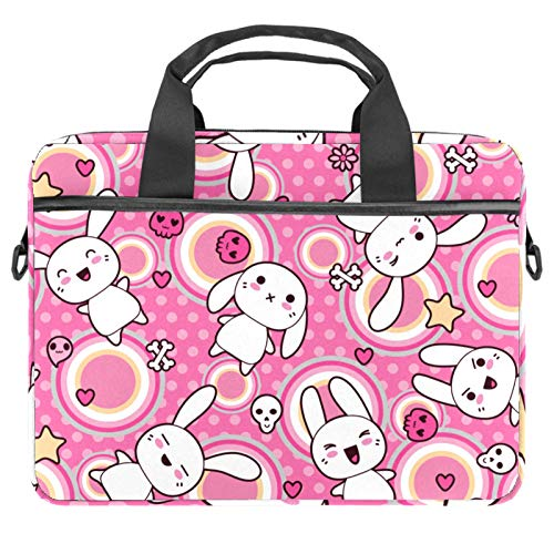Shoulder Laptop Messenger Bag 15 Inch Computer Handbag Case Cover Briefcases for Men Women Cute Ghost Rabbit Pink Pattern