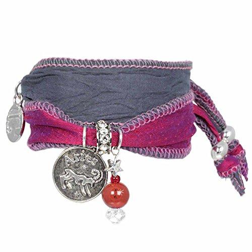 Anisch de la Cara damesarmband met hanger - Signs of Zodiac sterrenbeeld armband van Indiase Saris Signs of Zodiac - artnr. 2260-c