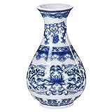 YEESEU Vidriado jarrn Chino Azul de la Vendimia del Viento Adornos Antiguos Porcelana Azul y Blanca jarrn de Flores de Estar Nuevo Chino Insercin jarrn de cermica de Arte Decorativo jarrn