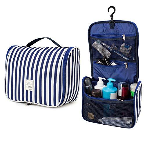 7Senses Hanging Toiletry Bag - Large Capacity Travel Bag for Women and Men - Toiletry Kit, Cosmetic Bag, Makeup Bag - Travel Accessories,Navy Blue