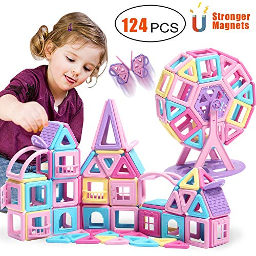 ACTRINIC 124 PCS Magnetic Toys Educational Stacking Toy with Castle Cards Globe Kids Games Toys with Portable Storage Bag for 3 4 5 6 7 8 Year Old Best Gifts for Boys And Girls