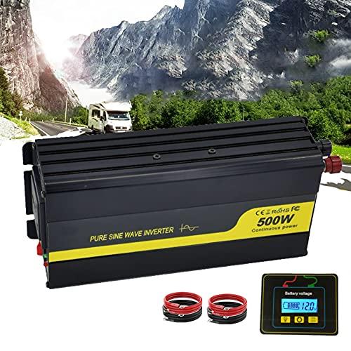 Inversor de Corriente de Onda sinusoidal Pura 500W 12V/24V a 110V /220V Convertidor de Corriente de Coche,Mando a Distancia,Salidas de CA,Ventiladores de refrigeración y Puerto USB 3.0,500W 24V 110V