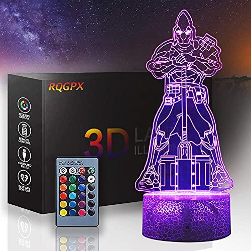 3D Ultima Knight Vanquisher Lámpara de ilusión óptica, luz de noche para niños 16 colores con lámpara de mesa LED remoto