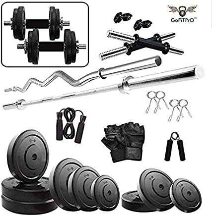 GoFiTPrO 40 KG Rubber Weight Home Gym with 3 Ft Curl Rod+5 Ft Plain Rod