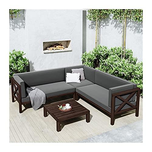 YCHUAN Set de Muebles de Patio, 1 Sets Grupo de Asientos en sección de 4 Piezas de Patio al Aire Libre con Cojines y sofá Trasero de Mesa