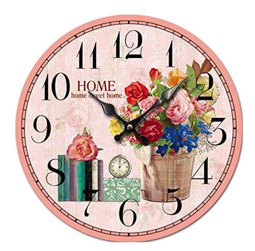 Reloj De Pared Silencioso Sin Tictac Flores Y Plantas En Macetas Reloj De Pared Digital Reloj De Pared Silencioso De Madera