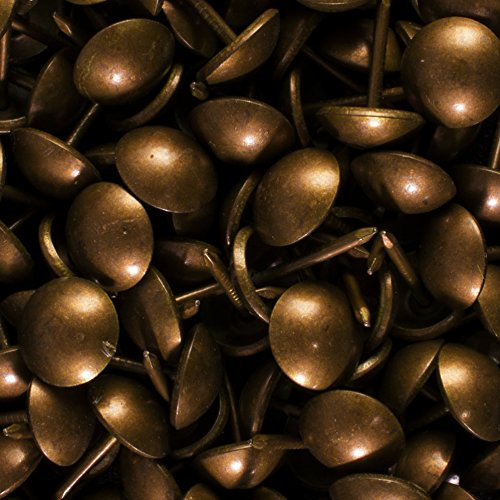 decotacks 500 PCS Antique Copper Finish Upholstery Nails, Furniture Tacks, French Natural Thumb Tack Push Pin, 7/16