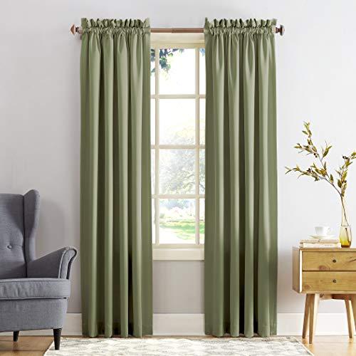 "Sun Zero Barrow Energy Efficient Rod Pocket Curtain Panel, 54"" x 84"", Sage Green, One Panel"