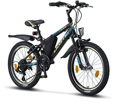 Licorne Bike Guide, 26', 24', 20', Mountain Bike, Cambio Shimano a 21 Marce, Forcella Ammortizzata, Bicicletta per Bambini, Ragazzi e Ragazze, da Donna, Borsa per Telaio, Bambina, Nero/Blu/Lime, 20