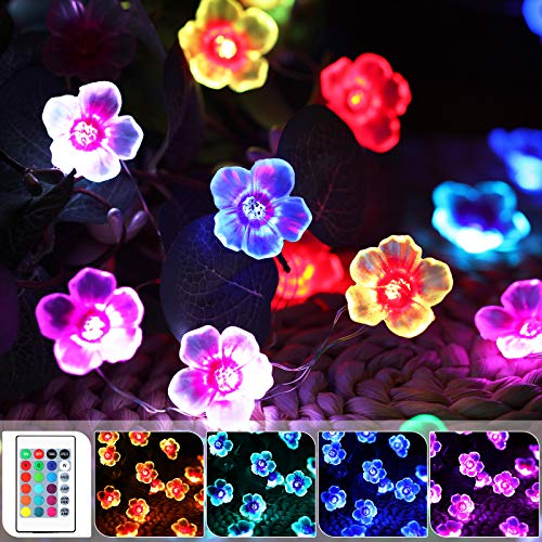 Cherry Blossom Flower String Lights 16 Colors, 40 LED 13 Feet USB and Battery Operated 3D Flowers Decorative Waterproof Outdoor Lights Remote Control for Bedroom Wedding Valentine Romantic Decor