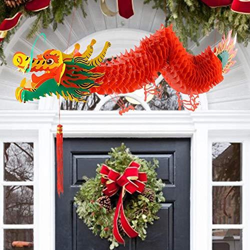 Farmer-W 3D Chinees nieuwjaar, draak garland decoratie hanger voor Dragon Boat Festival Shopping Mall Supermarkt Cozy Presents Excitement