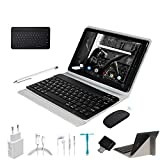 Tablet 10.1 Pulgadas 4G Android 9.0 Ultrar-Rápido Tablets 4GB RAM 64GB ROM/128GB Escalables 8000mAh Quad Core Dual SIM/5.0 +8.0 MP Cámara Tablet PC Bluetooth Netfilx con Teclado y Mouse (Negro)