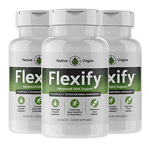 FLEXIFY – Glucosamine with Chondroitin Turmeric MSM Boswellia D3 & Ginger Root – Most Complete Natural Non-GMO Joint Pain Relief Supplement for Anti-inflammatory Antioxidant to Back, Knees(3 Count)