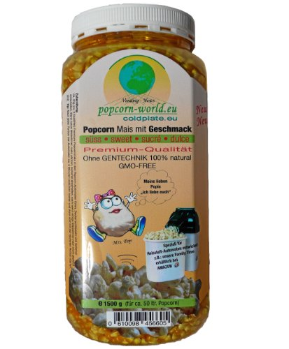NEU 1500g Premium-Popcorn-Mais. Mit Geschmack SÜß - Karamell ohne Gentechnik - 100 % Natur - Speziell für Heißluftautomaten entwickelt - Zubereitung ohne Fett und Zucker