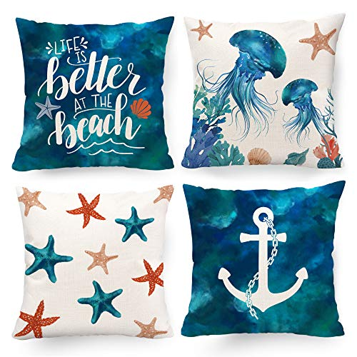 Hexagram Decorative Summer Beach Pillow Covers 18 x 18, Nautical Coastal Turquoise Teal Blue Color Anchor Starfish Theme Outdoor Throw Pillow Cover Set of 4 for Couch Living Room Sofa Beach Home Decor