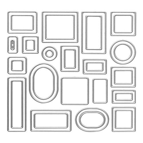 Metal Geometric Figure Lables Cutting Dies,Square Circle Frame Lables Die Cuts Embossing Stencils Template Mould for Card Scrapbooking and DIY Craft Album Paper Card Decor