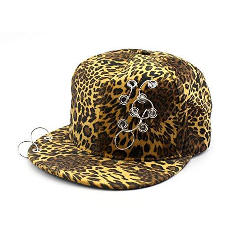 Gorras De Hombre Sombreros Cap Moda Verano Hombres Gorra De Hip Hop De ala Plana con Estampado De Leopardo Sombreros Snapback Sombrero para El Sol Al Aire Libre Anillo De Metal Mujeres Gorras De
