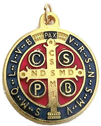 GTBITALY 60.049.21 medaglia di San Benedetto Oro Smaltata Misura 32 mm con Anello prete esorcismo Suora Chiesa sacerdote Santo