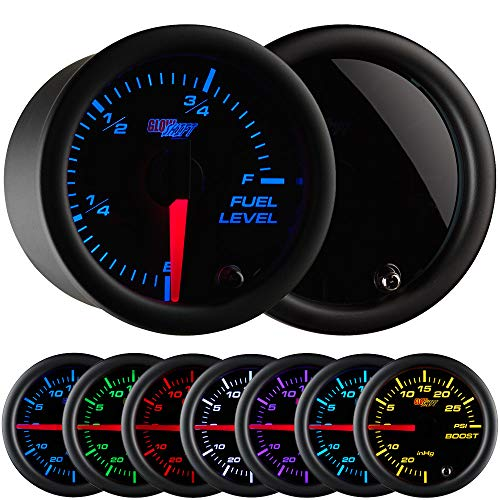 GlowShift Tinted 7 Color Adjustable Fuel Level Gauge - Black Dial - Smoked Lens - for Gas & Diesel Vehicles - 2-1/16 52mm
