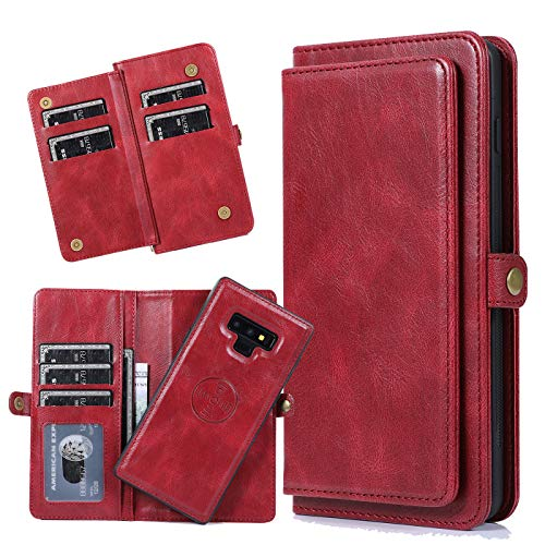 Harsel 7 Card Slots Magnetic Closure Detachable Flip PU Leather Wallet Purse Case with Strap Removable Protective Silicone Covers for Women Men for Samsung Galaxy Note 9 (Red)