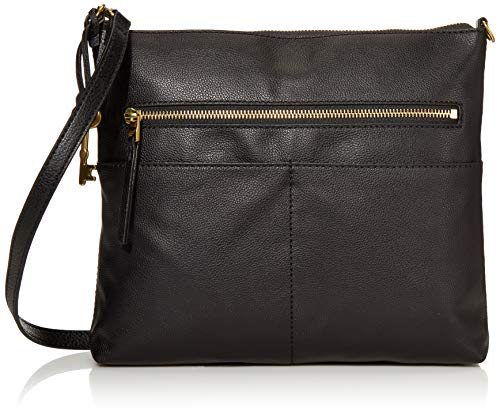 Fossil Women's Fiona Leather Large Crossbody Handbag, Black